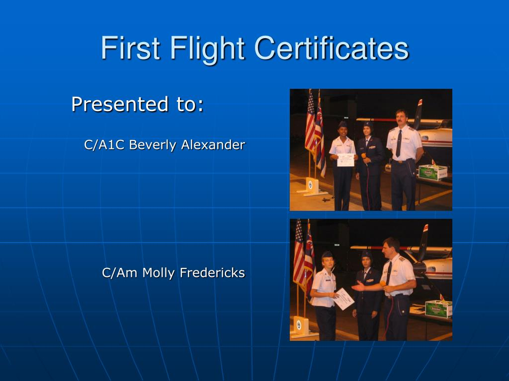 First Flight Certificates