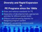 diversity and rapid expansion in pe programs since the 1960s