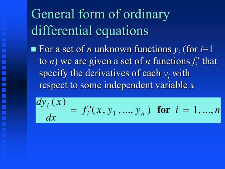 General form of ordinary differential equations