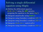 solving a single differential equation using maple
