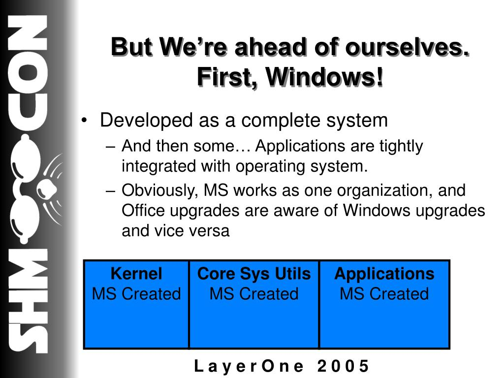 But We're ahead of ourselves.  First, Windows!