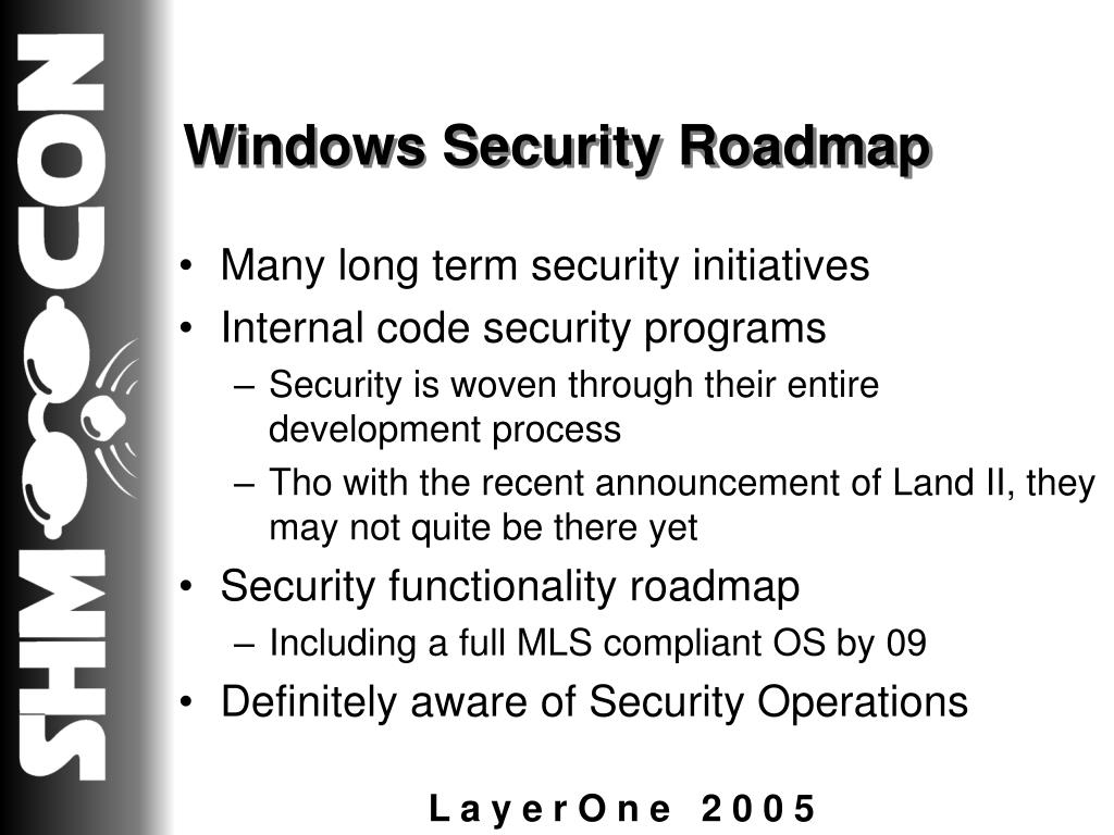 Windows Security Roadmap