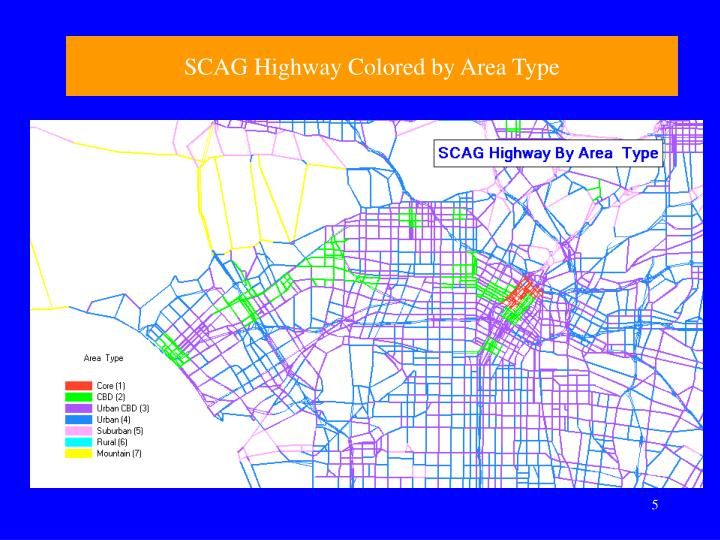 SCAG Highway Colored by Area Type