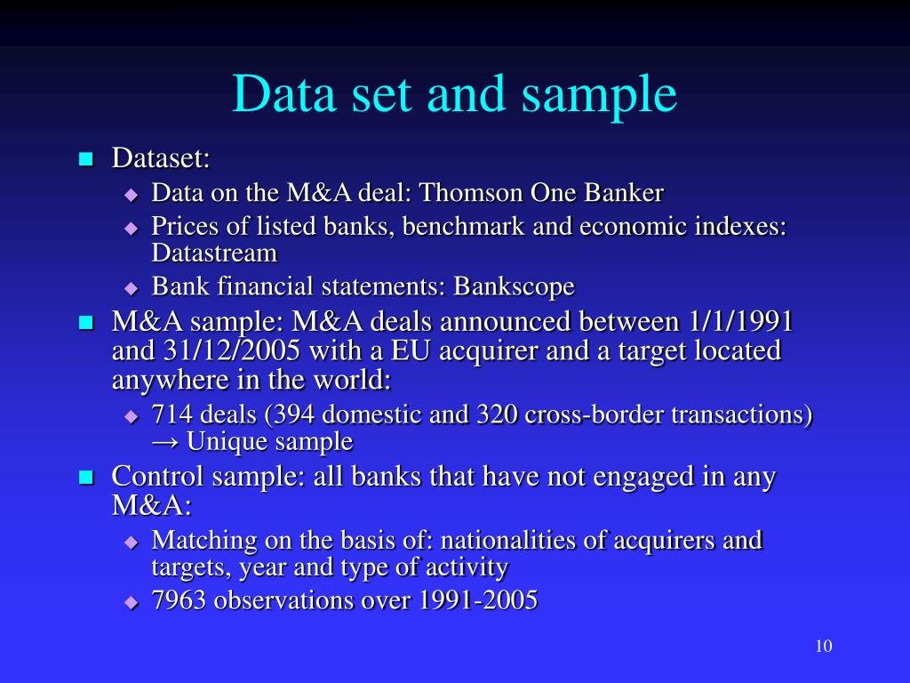 Data set and sample