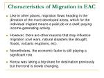 characteristics of migration in eac