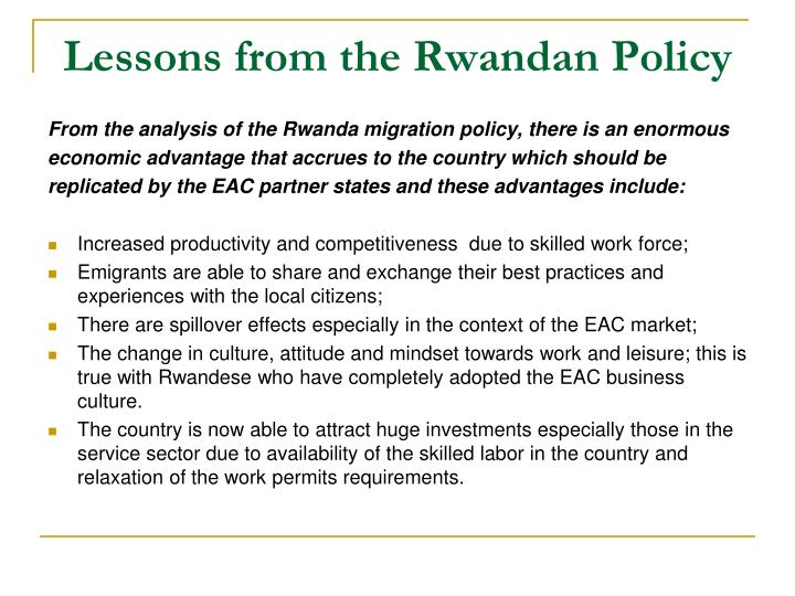 Lessons from the Rwandan Policy
