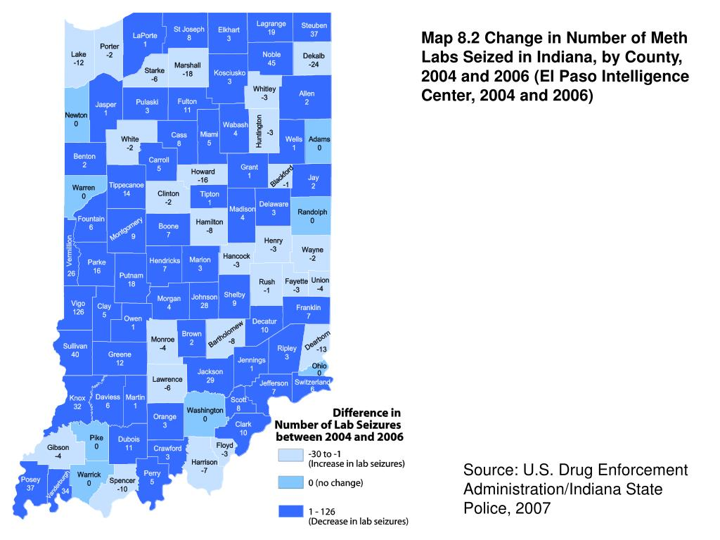 Map 8.2 Change in Number of Meth Labs Seized in Indiana, by County, 2004 and 2006 (El Paso Intelligence