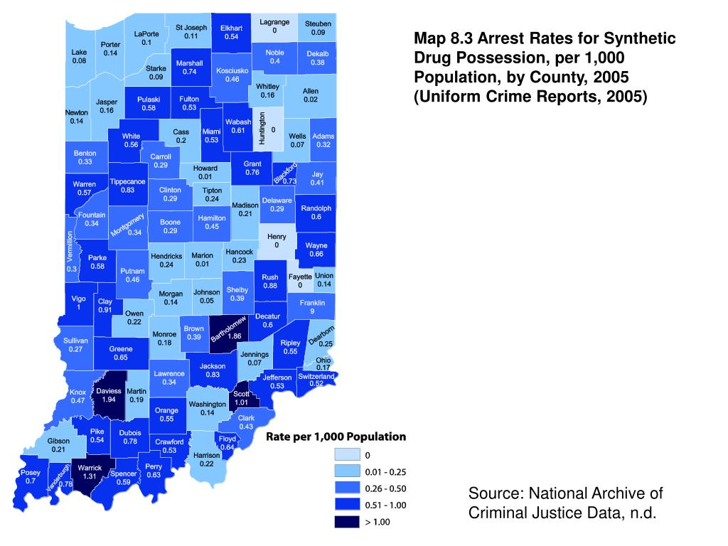 Map 8.3 Arrest Rates for Synthetic Drug Possession, per 1,000 Population, by County, 2005 (Uniform Crime Reports, 2005)