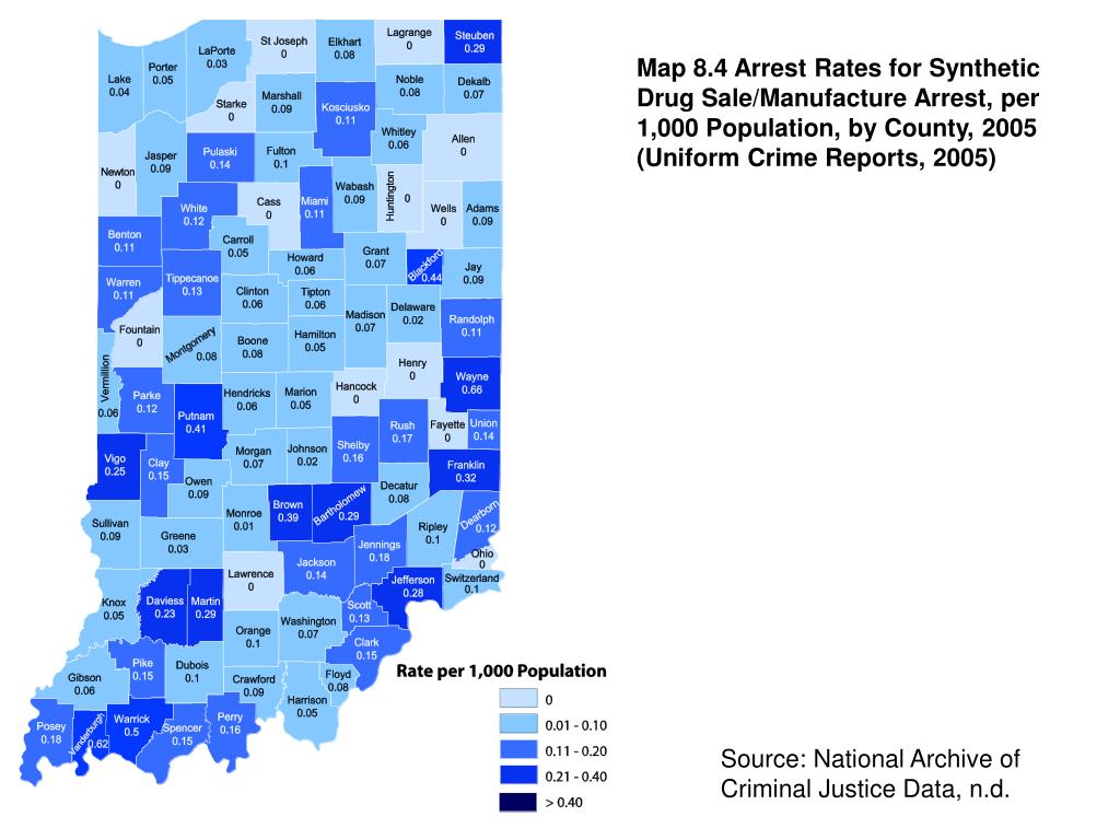 Map 8.4 Arrest Rates for Synthetic Drug Sale/Manufacture Arrest, per 1,000 Population, by County, 2005 (Uniform Crime Reports, 2005)
