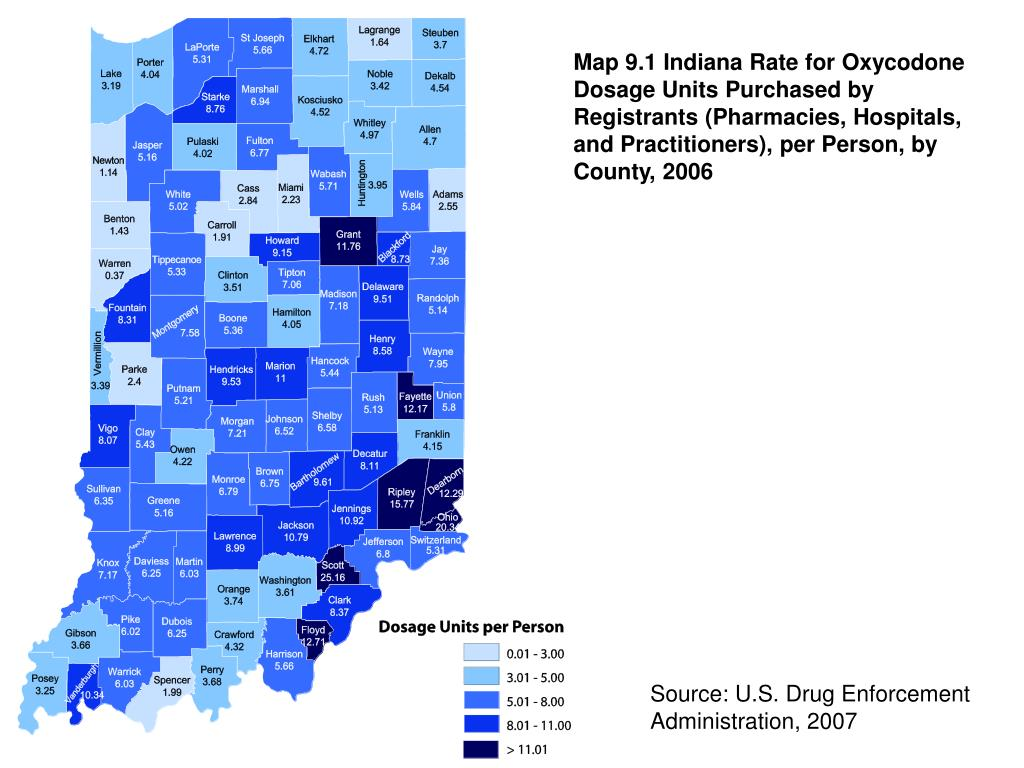 Map 9.1 Indiana Rate for Oxycodone Dosage Units Purchased by Registrants (Pharmacies, Hospitals, and Practitioners), per Person, by County, 2006