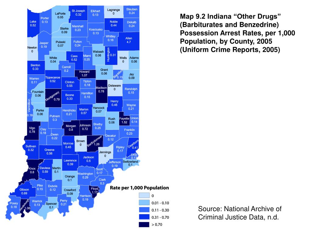 "Map 9.2 Indiana ""Other Drugs"" (Barbiturates and Benzedrine) Possession Arrest Rates, per 1,000 Population, by County, 2005 (Uniform Crime Reports, 2005)"