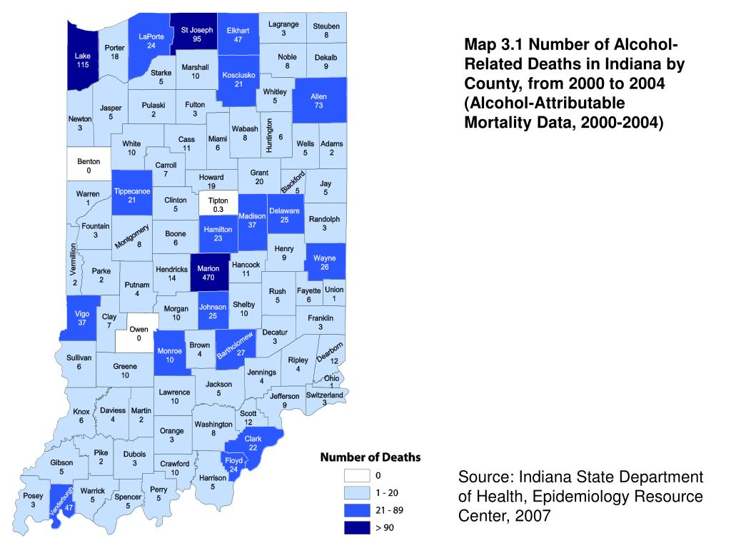 Map 3.1 Number of Alcohol-Related Deaths in Indiana by County, from 2000 to 2004 (Alcohol-Attributable Mortality Data, 2000-2004)