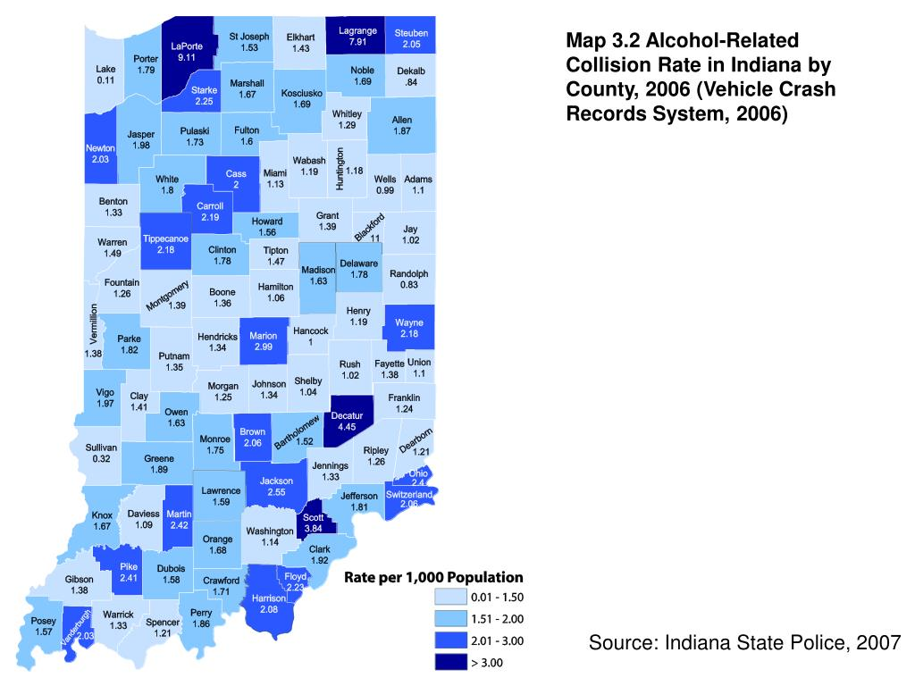 Map 3.2 Alcohol-Related Collision Rate in Indiana by County, 2006 (Vehicle Crash Records System, 2006)