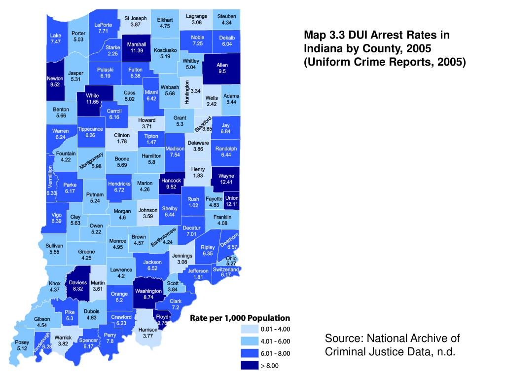 Map 3.3 DUI Arrest Rates in Indiana by County, 2005 (Uniform Crime Reports, 2005)