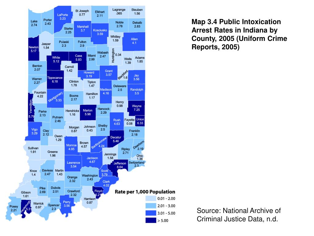 Map 3.4 Public Intoxication Arrest Rates in Indiana by County, 2005 (Uniform Crime Reports, 2005)