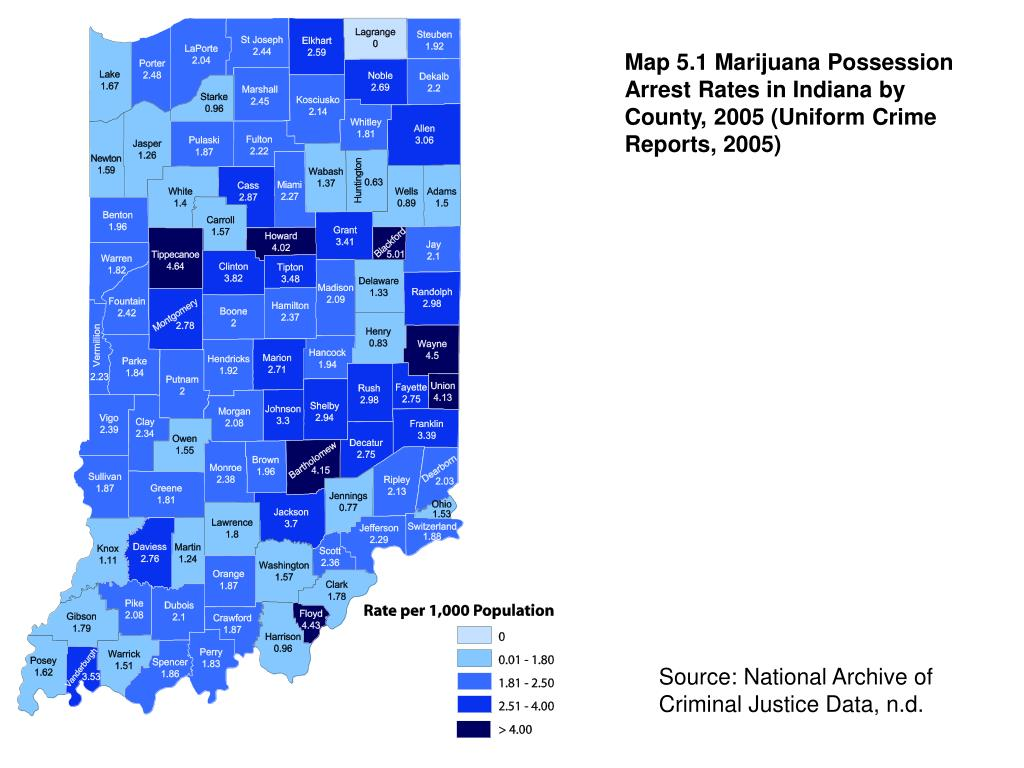 Map 5.1 Marijuana Possession Arrest Rates in Indiana by County, 2005 (Uniform Crime Reports, 2005)