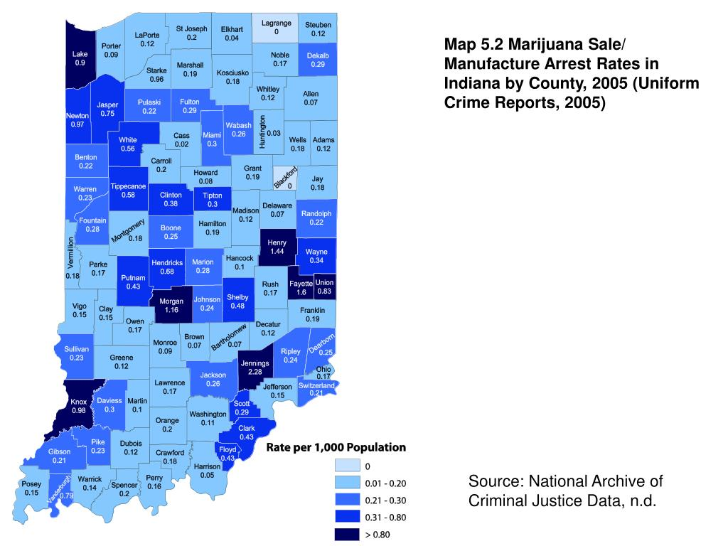 Map 5.2 Marijuana Sale/ Manufacture Arrest Rates in Indiana by County, 2005 (Uniform Crime Reports, 2005)