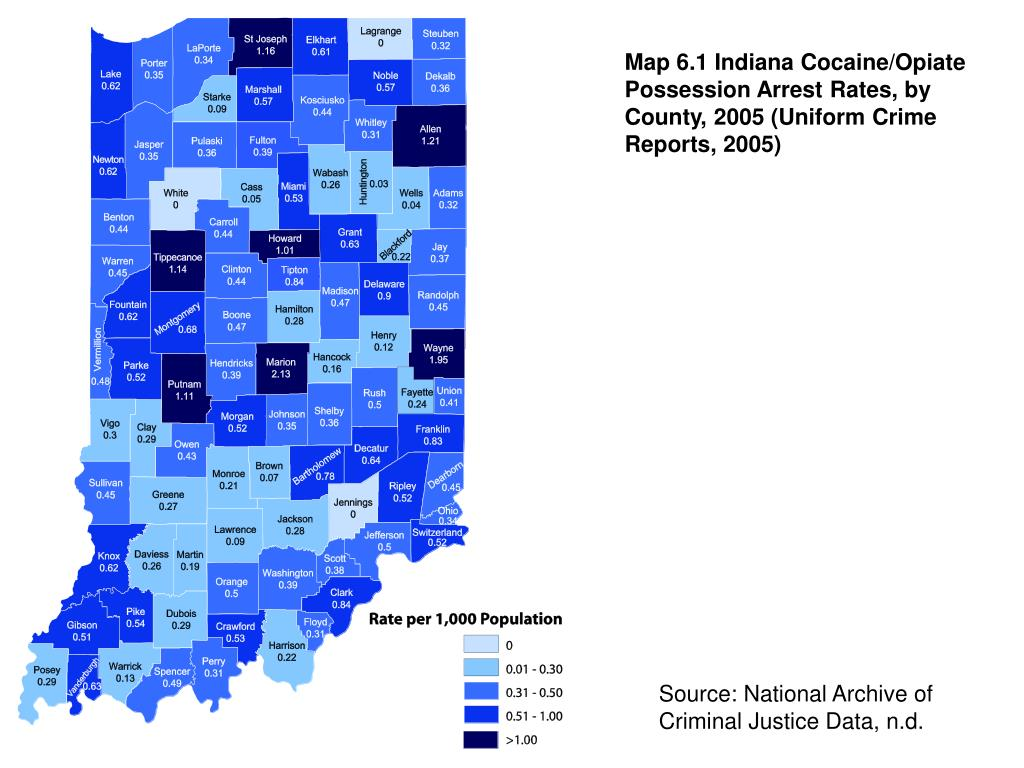 Map 6.1 Indiana Cocaine/Opiate Possession Arrest Rates, by County, 2005 (Uniform Crime Reports, 2005)