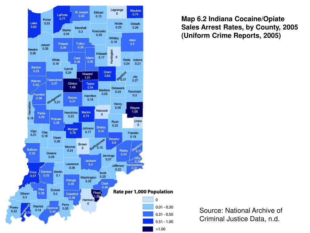 Map 6.2 Indiana Cocaine/Opiate Sales Arrest Rates, by County, 2005 (Uniform Crime Reports, 2005)