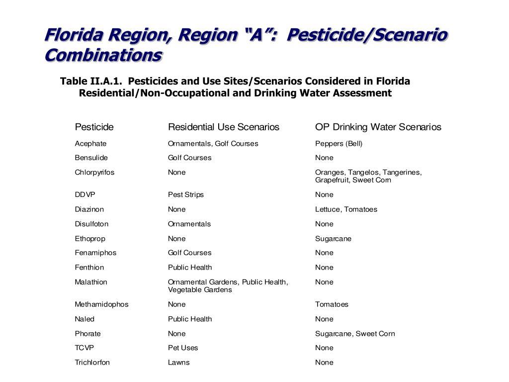 """Florida Region, Region """"A"""":  Pesticide/Scenario Combinations"""
