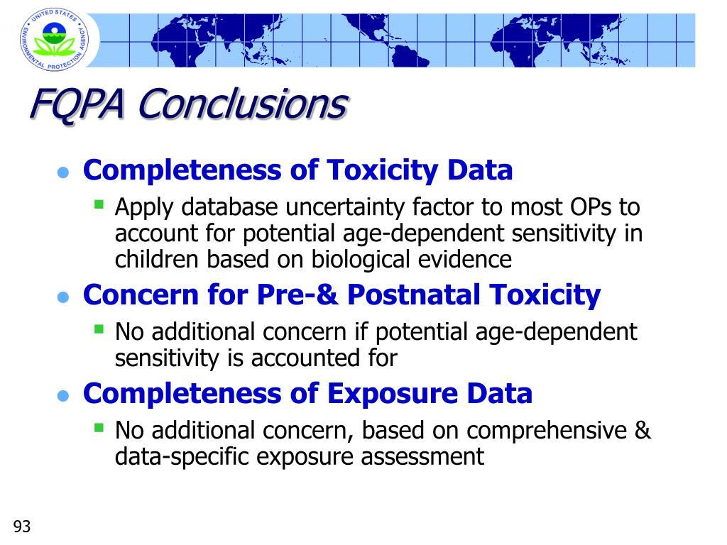 FQPA Conclusions