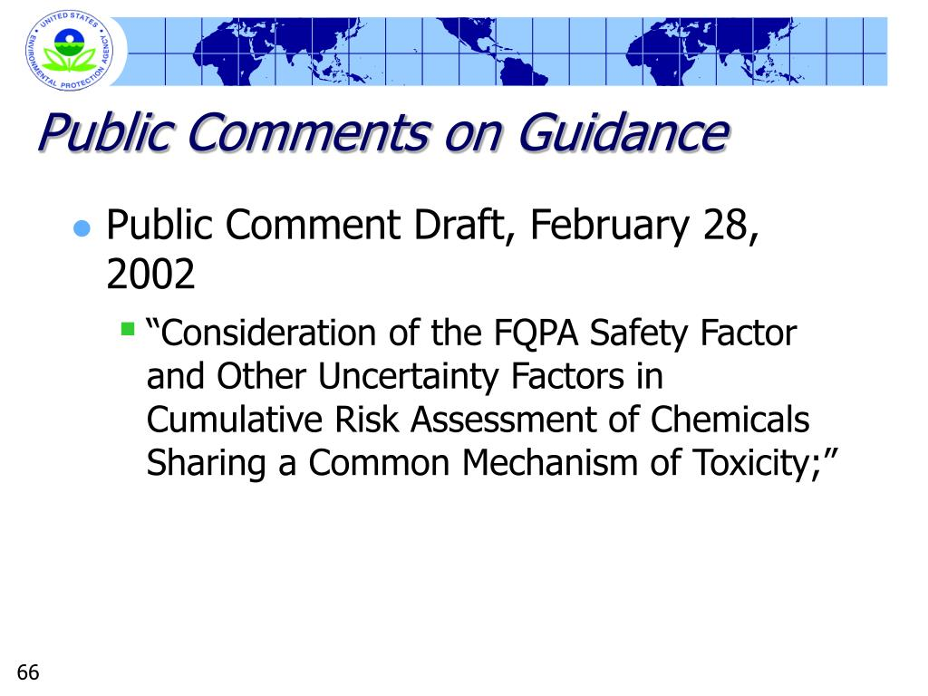 Public Comments on Guidance