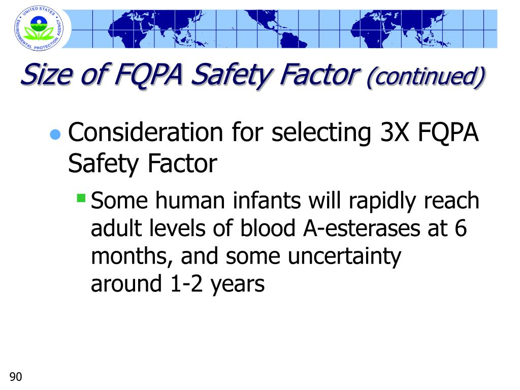 Size of FQPA Safety Factor