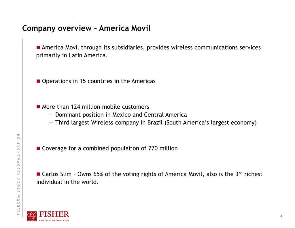 Company overview – America Movil