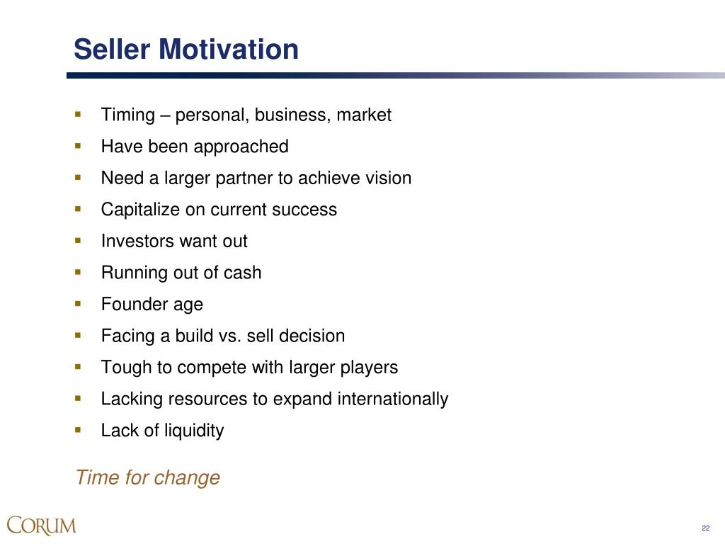 Seller Motivation