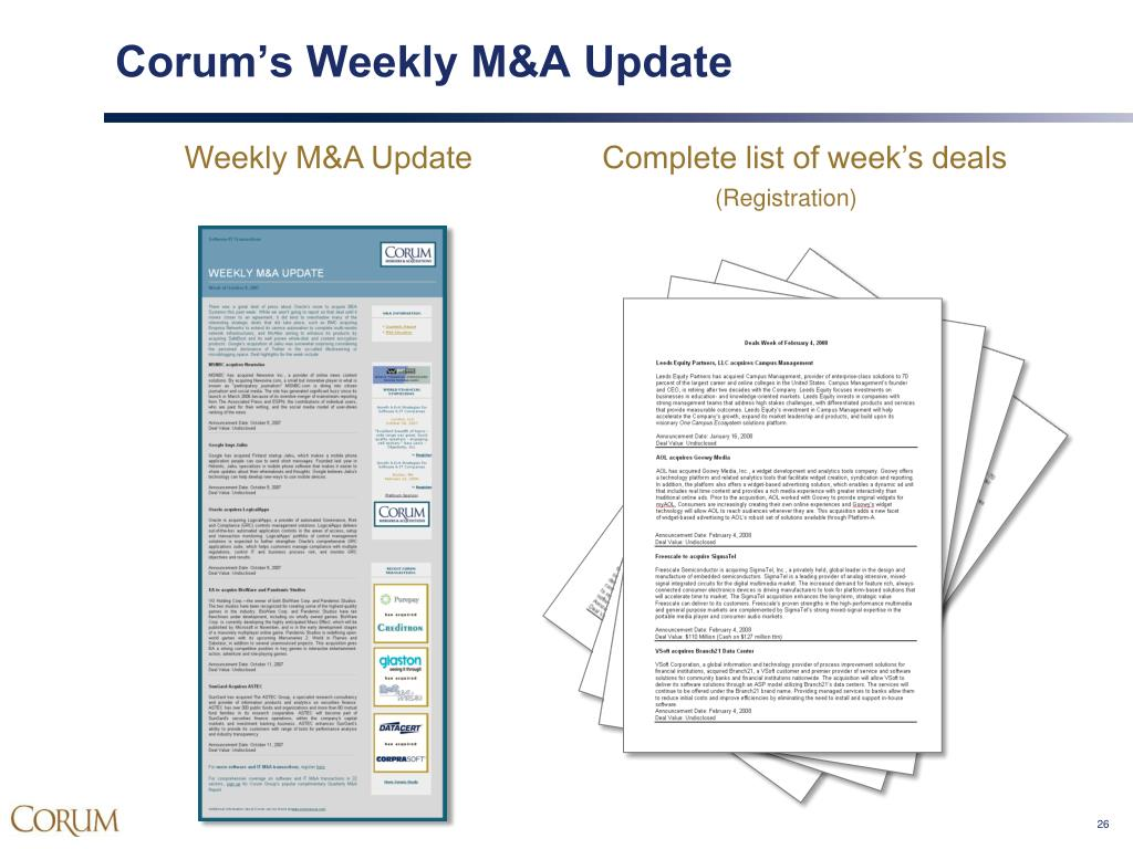 Corum's Weekly M&A Update