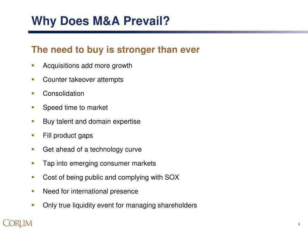Why Does M&A Prevail?