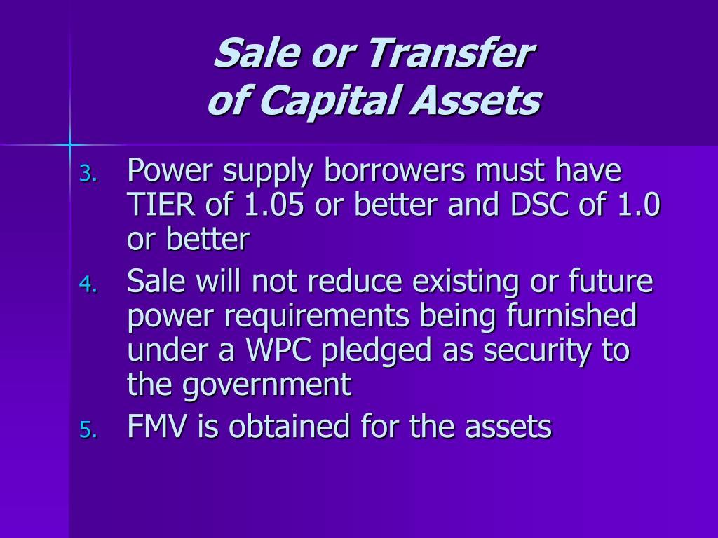 Sale or Transfer