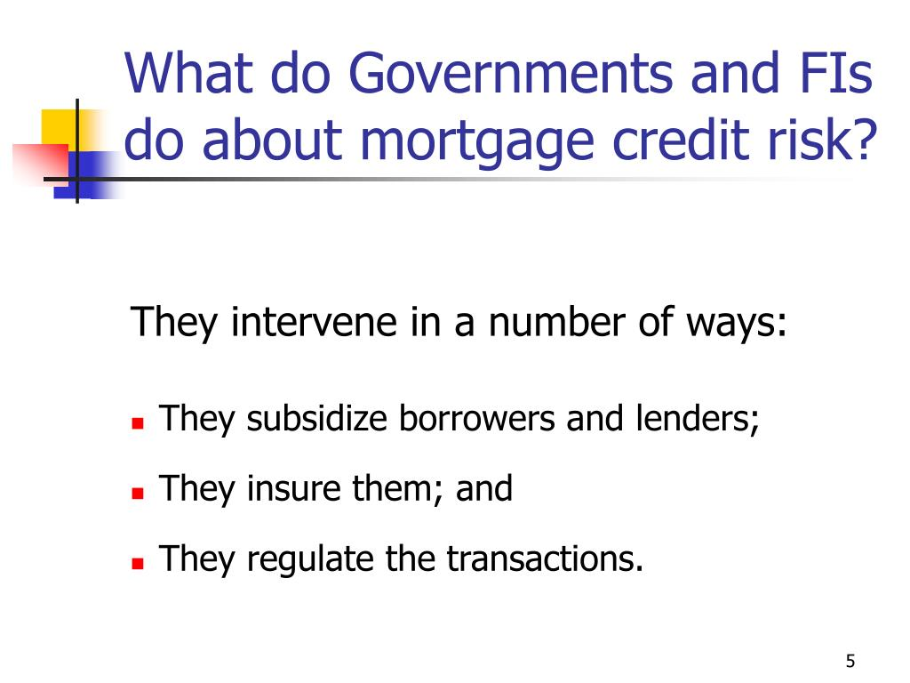 What do Governments and FIs do about mortgage credit risk?