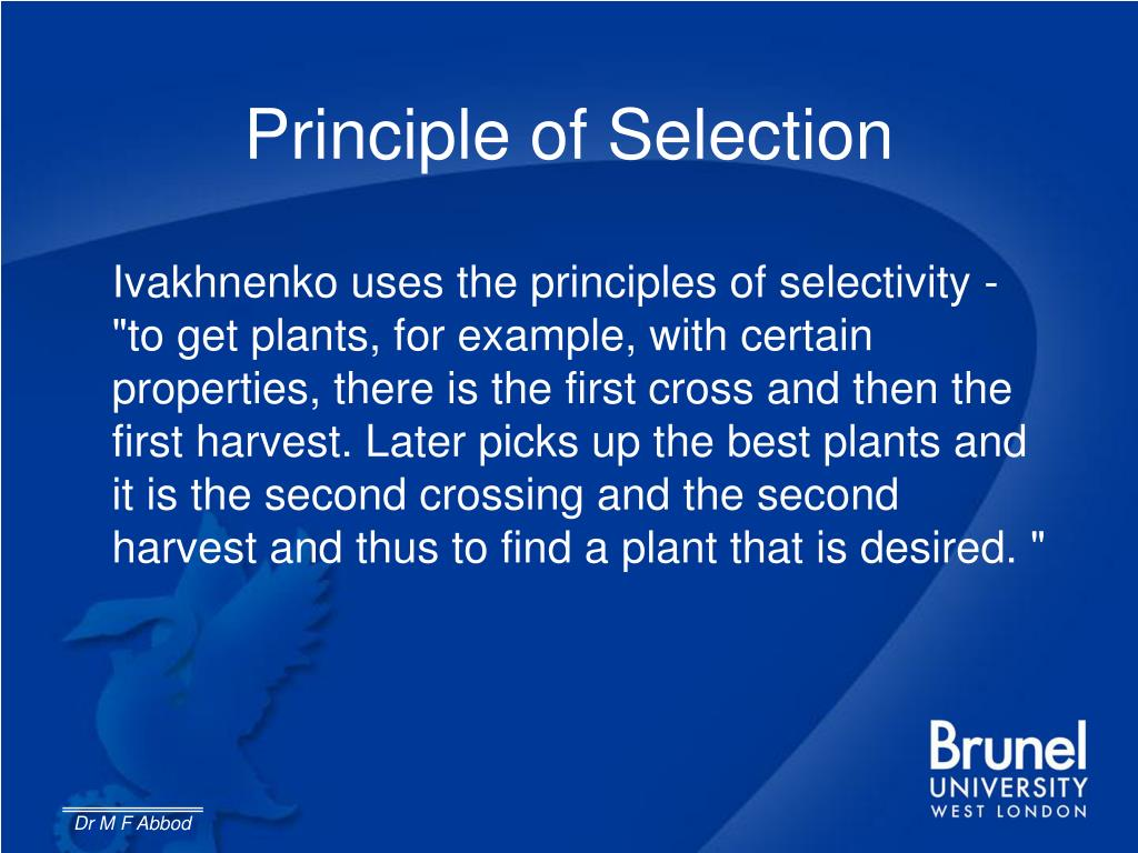 Principle of Selection