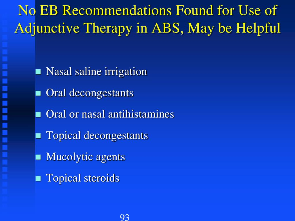 No EB Recommendations Found for Use of Adjunctive Therapy in ABS, May be Helpful