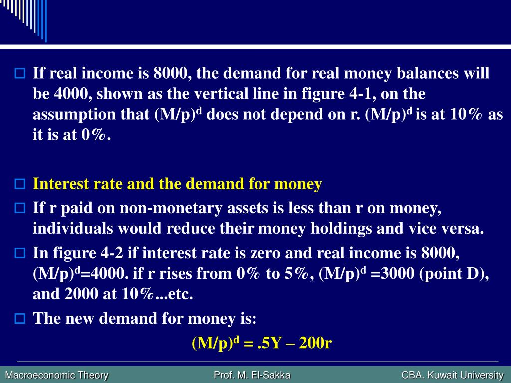 If real income is 8000, the demand for real money balances will be 4000, shown as the vertical line in figure 4-1, on the assumption that (M/p)