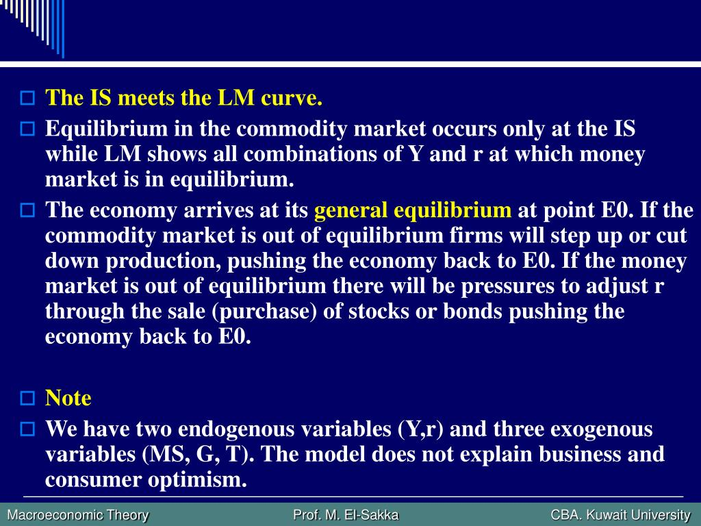 The IS meets the LM curve.