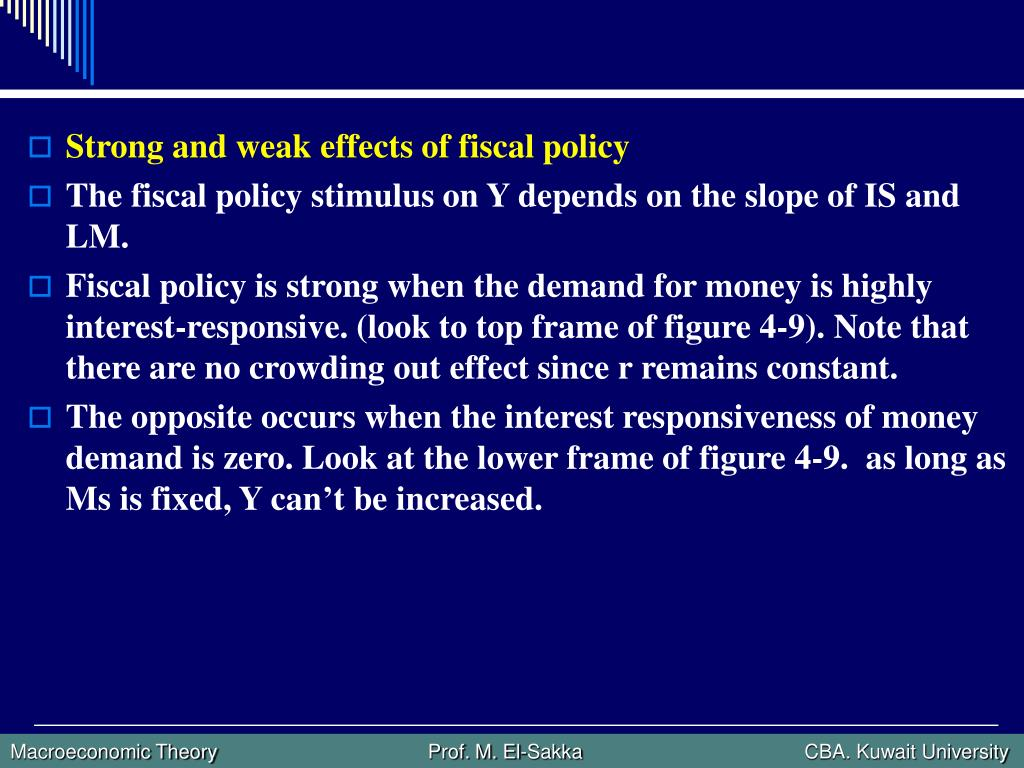 Strong and weak effects of fiscal policy