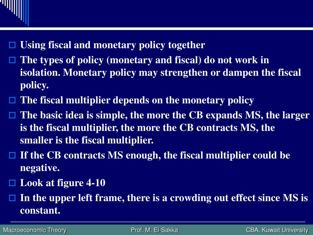 Using fiscal and monetary policy together
