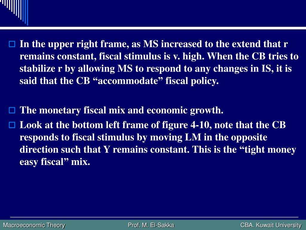 """In the upper right frame, as MS increased to the extend that r remains constant, fiscal stimulus is v. high. When the CB tries to stabilize r by allowing MS to respond to any changes in IS, it is said that the CB """"accommodate"""" fiscal policy."""