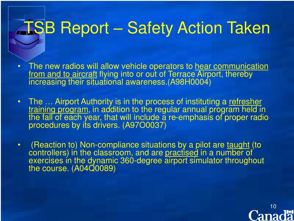 TSB Report – Safety Action Taken