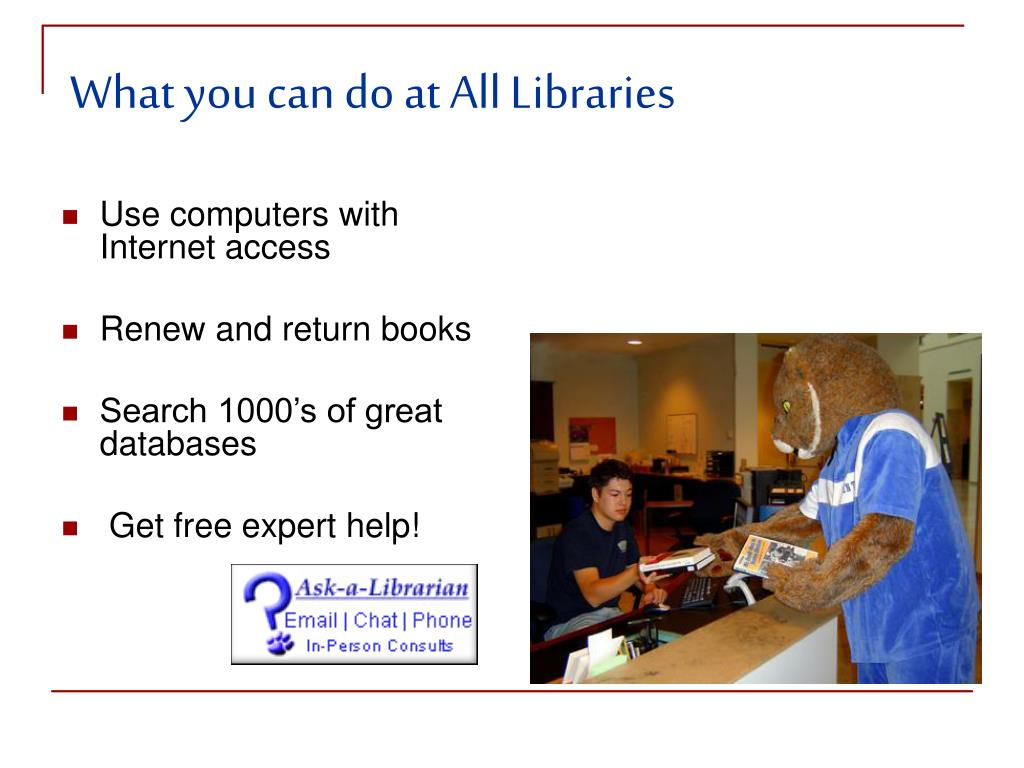 What you can do at All Libraries