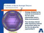 i o model of above average returns