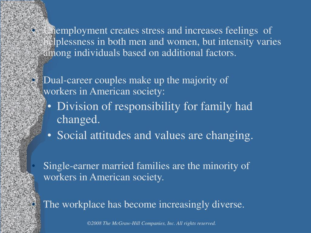 Unemployment creates stress and increases feelings  of helplessness in both men and women, but intensity varies among individuals based on additional factors.