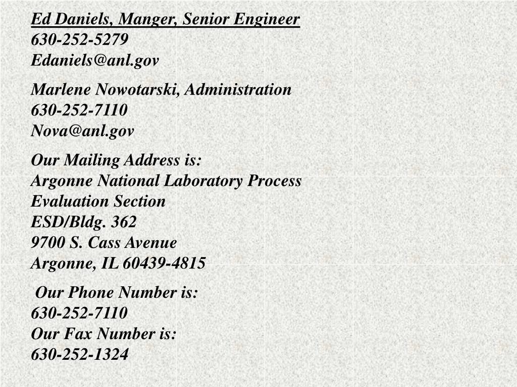 Ed Daniels, Manger, Senior Engineer