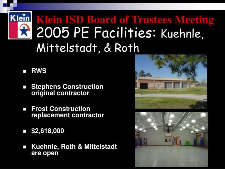 2005 PE Facilities: