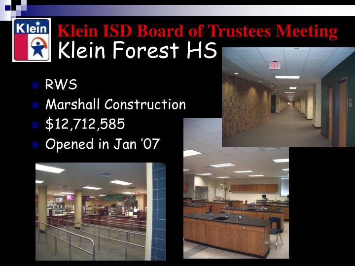Klein Forest HS