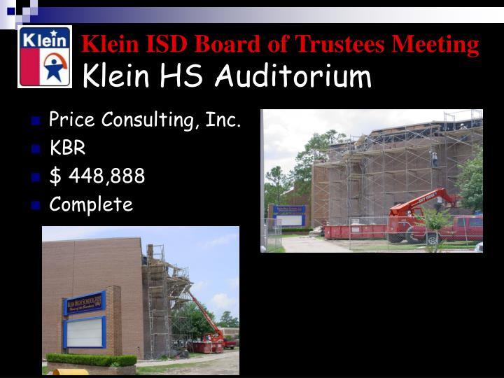 Klein HS Auditorium