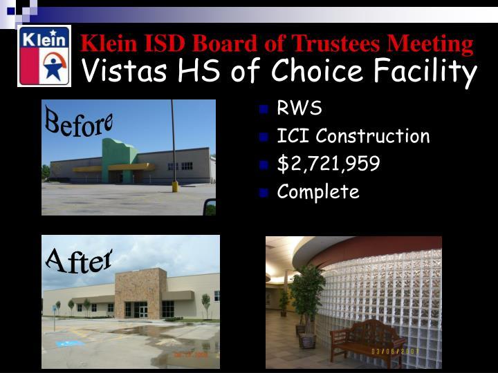 Vistas HS of Choice Facility