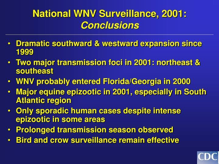 National WNV Surveillance, 2001: